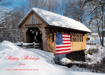 Patriotic Covered Bridge Winter Snow Scene Holiday Cards